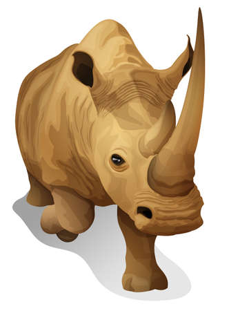 pygmy: Illustration of a hippopotamus on a white background