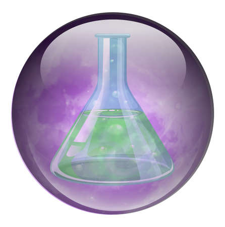 volumetric flask: Illustration of a volumetric flask on a white background