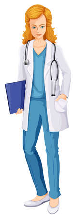medical drawing: Illustration of a female doctor on a white background