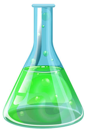 Illustration of a laboratory flask on a white background Illustration