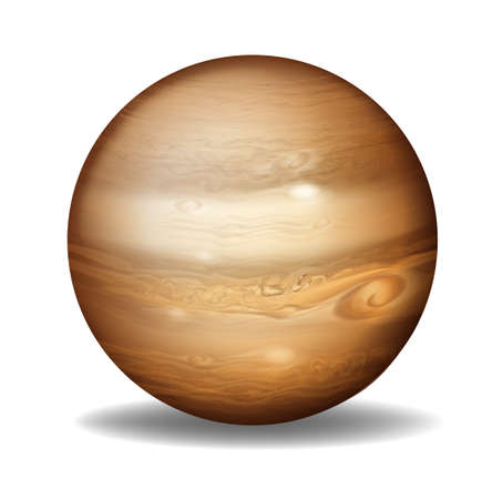 Illustration of planet Jupiter on a white background