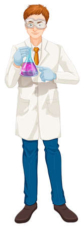 Illustration of a chemist on a white background Stock Vector - 23261219