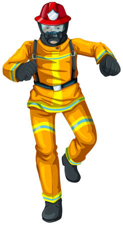 rescuing: Illustration of a firefighter on a white background Illustration