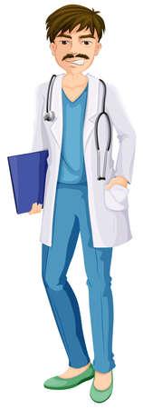 медик: Иллюстрация мужского врача на белом фоне
