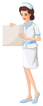 nursing mother: Ilustraci�n de una enfermera de la celebraci�n de una tabla vac�a sobre un fondo blanco