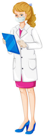 Illustration of a female chemist on a white background Illustration