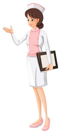 nursing uniforms: Ilustraci�n de un profesional de la salud sobre un fondo blanco