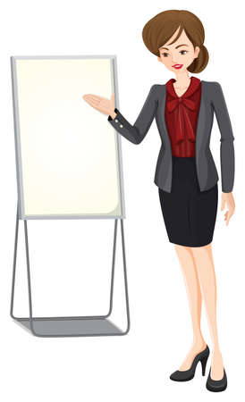 businesswoman skirt: Illustration of a businesswoman beside the empty board on a white background Illustration