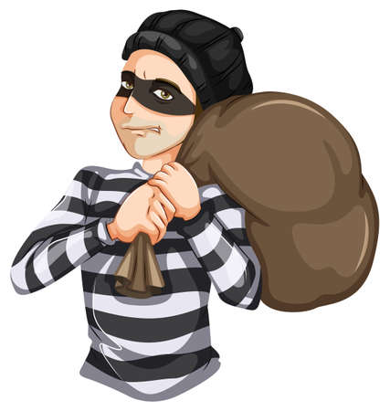 Illustration of a Robbery on a white background Vector