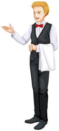 alcohol server: Illustration of a smiling waiter on a white background Illustration