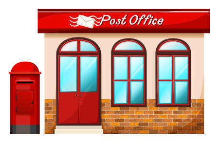 post office building: Illustration of a Post office on a white background