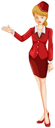 cabin attendant: Illustration of an air hostess on a white background