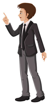 Illustration of a businessman pointing on a white background Stock Vector - 23261268