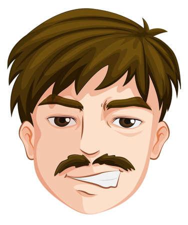 Illustratie van het hoofd van een man op een witte achtergrond