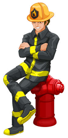 rescuing: Illustration of a fireman on a white background