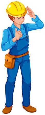 calzado de seguridad: Ilustraci�n de un ingeniero en un fondo blanco Vectores