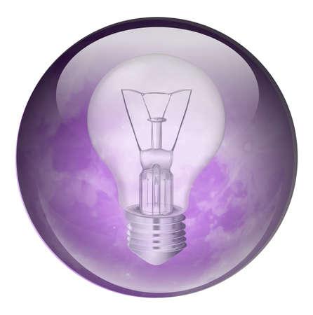 enchufe de luz: Ilustración de una bombilla incandescente sobre un fondo blanco