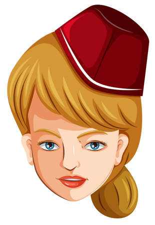 cabin attendant: Illustration of a head of a flight attendant on a white background