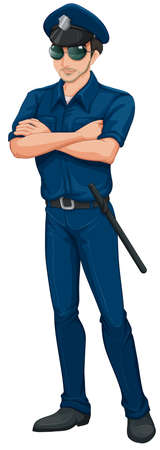law enforcer: Illustration of a policeman on a white background