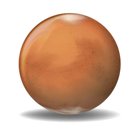 lifeless: Illustration of the planet Mars on a white background