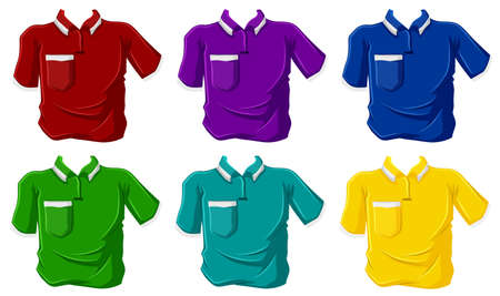 necessity: Illustration of the colorful polo shirts on a white background Illustration