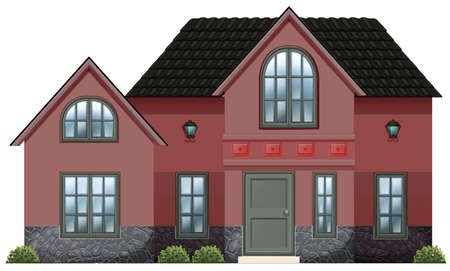 detached house: Illustration of a red concrete house on a white background