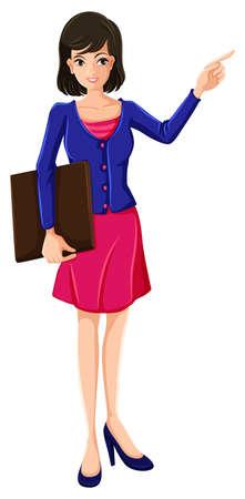 blazer: Illustration of a businesswoman with a blue blazer on a white background