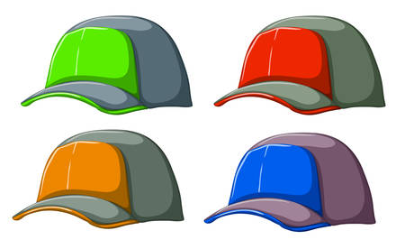 adjuster: Illustration of the baseball caps on a white background Illustration