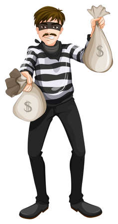 threat of violence: Illustration of a cash robbery on a white background Illustration