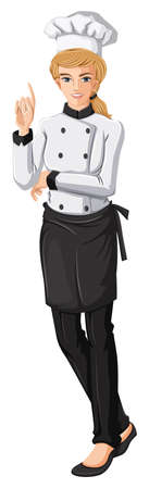 female chef: Illustration of a female chef on a white background