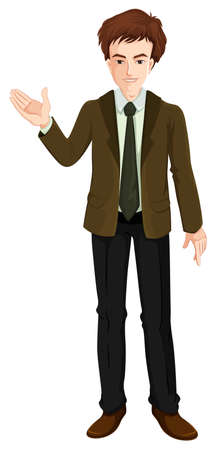 manager: Illustration of a businessman standing on a white background Illustration