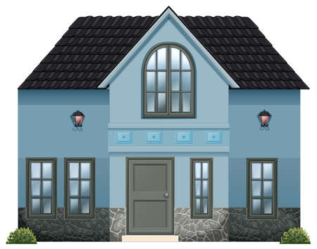 detached house: Illustration of a blue single detached house on a white background