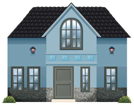 detached: Ilustraci�n de una casa unifamiliar azul sobre un fondo blanco Vectores