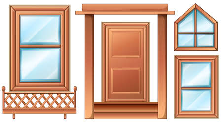 closed door: Illustration of the different door designs on a white background Illustration