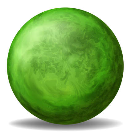 bounces: Illustration of a green round ball on a white background Illustration