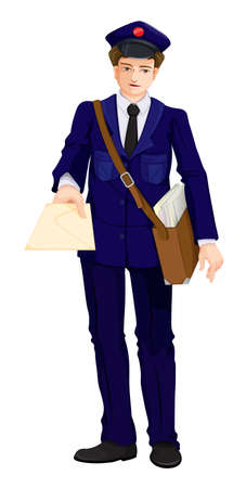 delivers: Illustration of a postman on a white background