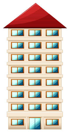 architect drawing: Illustration of a tall building on a white background Illustration