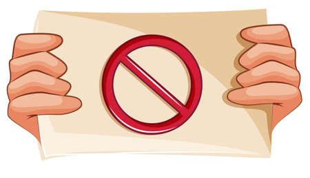 interdict: Illustration of a banned sign on a white background Illustration