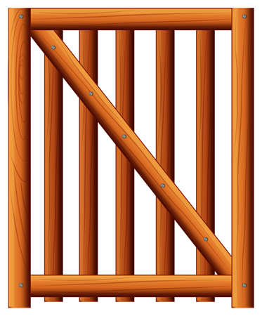 Illustration of a wooden fence with a diagonal bar on a white background
