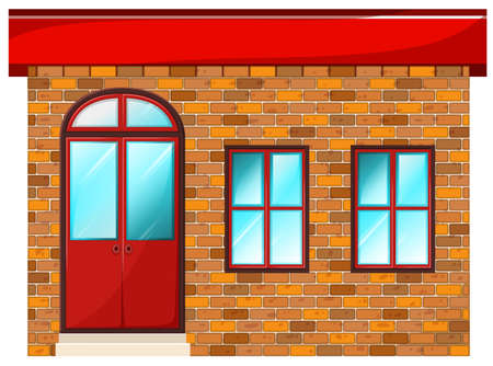 civil engineers: Illustration of a building made of bricks on a white background