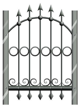 panelling: Illustration of a steel gate on a white background