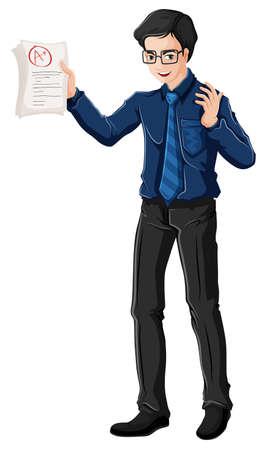 educators: Ilustración de un profesor de sexo masculino sobre un fondo blanco
