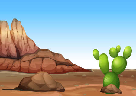 desertification: Illustration of a desert with a cactus Illustration