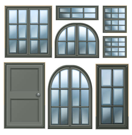 viewing angle: Illustration of the different windows design on a white background