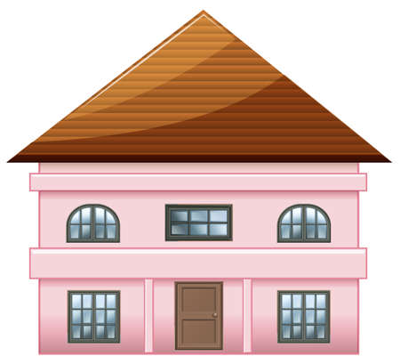 detached: Illustration of a single detached pink house on a white background Illustration
