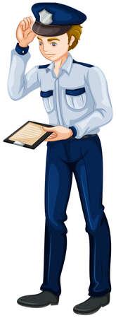 law enforcer: Illustration of a police officer on a white background Illustration