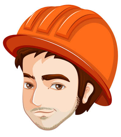 versatile: Illustration of a head of an engineer on a white background