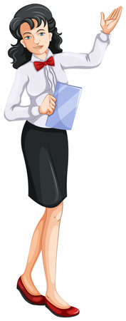 restaurant staff: Illustration of a female waiting staff on a white background Illustration