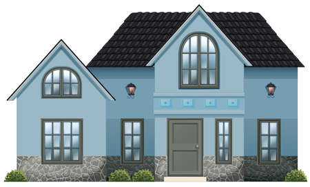 detached house: Illustration of a big blue house on a white background Illustration