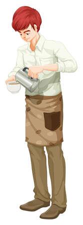 barista: Illustration of a barista on a white background Illustration